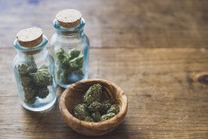 Cannabis in small jars