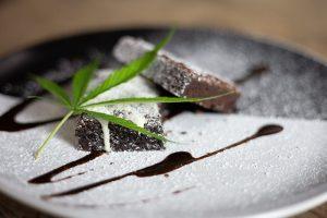 Pot brownie with pot leaf