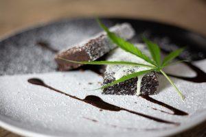 cannabis leaf on a marijuana brownie